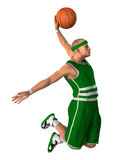 3D Rendering Basketball Player on White. 3D rendering of a male basketball player isolated on white background Royalty Free Stock Photo