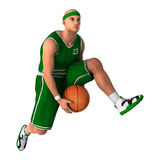 3D Rendering Basketball Player on White. 3D rendering of a male basketball player isolated on white background Stock Photography