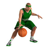 3D Rendering Basketball Player on White. 3D rendering of a male basketball player isolated on white background Stock Image
