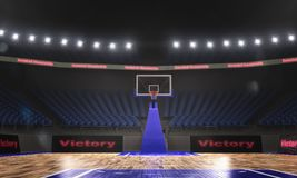 3d rendering of the basketball stadium with lights. 3d render of indoor basketball stadium with lights Royalty Free Stock Photos