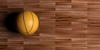 3d rendering basketball on wooden background. 3d rendering basketball on wooden floor background Stock Photography