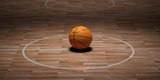 3d rendering basketball on wooden background. 3d rendering basketball on wooden floor background Stock Images