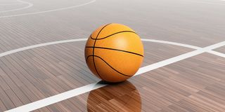 3d rendering basketball on wooden background. 3d rendering basketball on wooden floor background Royalty Free Stock Images