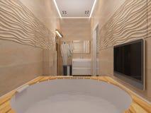 3D rendering of the bathroom in beige tones Royalty Free Stock Photo