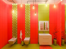 3D rendering of a bathroom interior design for children. Stock Photo
