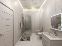 3D rendering of a bathroom interior design for children. Royalty Free Stock Images