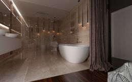 3D Rendering Bathroom Interior. 3D rendering of a modern bathroom interior Stock Image