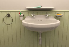 3D rendering bathroom. 3D interior bathroom scene created by 3ds Max 2014 Stock Photos