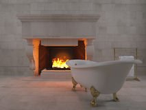 3d rendering bathtub near fireplace Royalty Free Stock Photos
