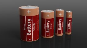 3D rendering of batteries in all sizes Stock Photo