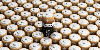 3d rendering batteries background. One out Stock Photography