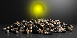 3d rendering batteries and bulb light on black background. 3d rendering batteries pile and bulb light on black background Royalty Free Stock Images