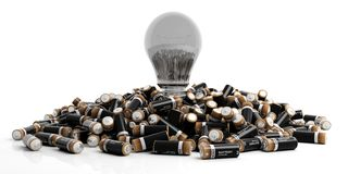 3d rendering batteries and a bulb light on white background. 3d rendering alkaline batteries and a bulb light on white background Royalty Free Stock Images