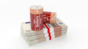 3D rendering of batteries on Euro banknote packs. On white background Royalty Free Stock Photos