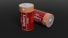 3D rendering of batteries. Isolated on black background Stock Photo