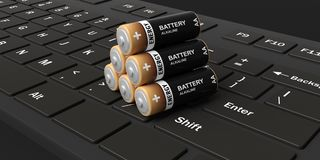 3d rendering batteries on a keyboard Stock Image