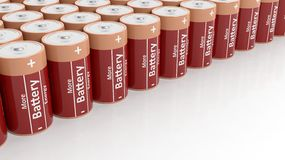 3D rendering of batteries set in a row. On white background with copy-space Stock Photo