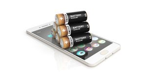 3d rendering batteries on a smart phone. On white background Stock Photos