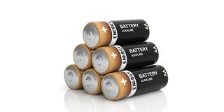 3d rendering batteries stack on white background Royalty Free Stock Image