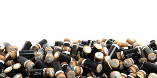 3d rendering batteries stack on white background Stock Images