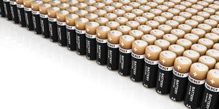 3d rendering batteries standing on white background. 3d rendering alkaline batteries standing on white background Stock Photography
