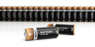 3d rendering batteries on white background Stock Image