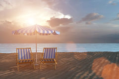 3D rendering from a beach with deck chairs, Parasol and an ocean in the background Royalty Free Stock Photos