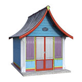 3D Rendering Beach Hut on White Stock Photography
