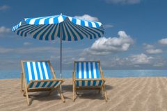 3D rendering from a beach scene consist of two deck chairs, Parasol and an ocean Royalty Free Stock Images