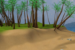 3D rendering of beach scene Royalty Free Stock Photography