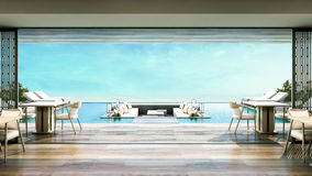 3D Rendering Beach Villa Dinning room. Sea view and swimming pool with daybed Royalty Free Stock Image