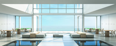 3D Rendering Beach Villa Dinning room. Sea view and swimming pool with daybed Stock Photos