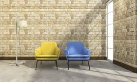 3d rendering beautiful armchair near brick wall Stock Image