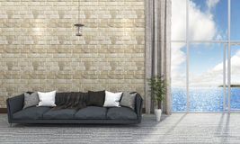 3d rendering beautiful brick wall living room with blue sofa near the sea Royalty Free Stock Photography
