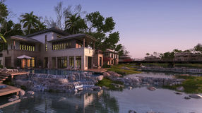 3d rendering beautiful contemporary house near resort and river at sunset. 3D Interior rendering by 3ds max Stock Photo