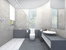3d rendering beautiful design restroom with glass block Stock Image