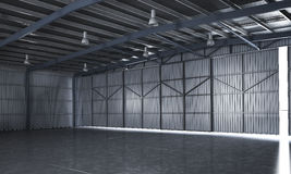 3d rendering beautiful empty metal storage warehouse Stock Photo