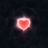3D rendering beautiful glowing heart. On a dark background Stock Photo