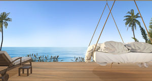 3d rendering beautiful hanging bed on terrace near green hill with nice sky view and palm tree in hawaii in summer Royalty Free Stock Photo