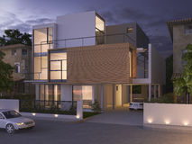 3d rendering beautiful modern design black brick house near park and nature at night Royalty Free Stock Photography