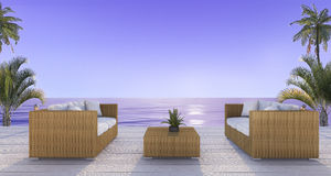3d rendering beautiful rattan armchair on deck near beach in twilight scene Royalty Free Stock Photos
