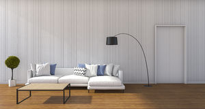 3d rendering beautiful sofa in minimal white living room with daylight Royalty Free Stock Images