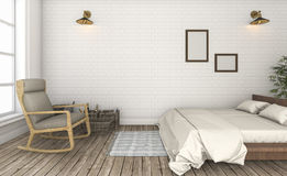 3d rendering beautiful white brick wall vintage bedroom Royalty Free Stock Photography