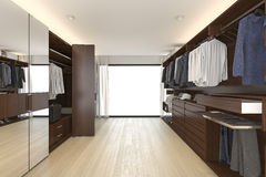 3d rendering beautiful wood horizontal wardrobe and walk in closet near window Royalty Free Stock Photography