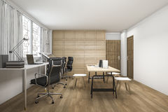 3d rendering beautiful wood working room Royalty Free Stock Images
