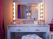 3d rendering bedroom in gray and white tones with purple accents and big cupboard Stock Image