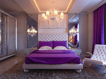 3d rendering bedroom in gray and white tones with purple accents and big cupboard Royalty Free Stock Photos