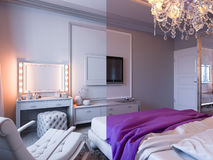3d rendering bedroom in gray and white tones with purple accents Royalty Free Stock Images