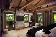 3D rendering bedroom house in the mountain Royalty Free Stock Photo