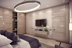 3D rendering bedroom house in the mountain Royalty Free Stock Image